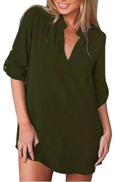 Freestyle Verano Mujer Blusa Fashion Delgado Cuello V Camisetas de Manga Larga Remata Blouses T-Shirts Casual Suelto Irregular Gasa Tops Largas Camisa Mini ...