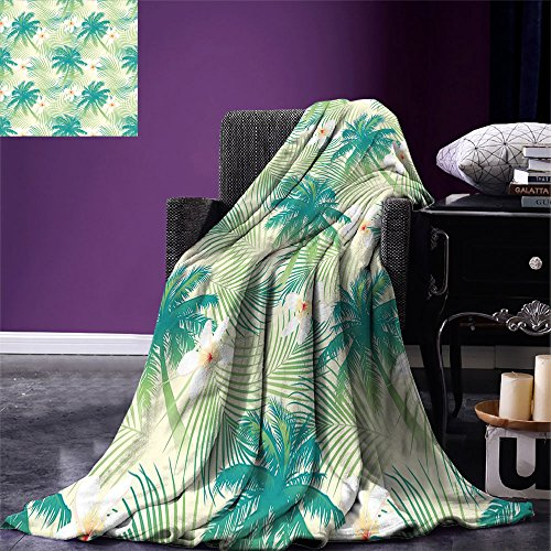ow Blanket Oceanic Island Palm Tree Leaves with Papaya Crepe Ginger Flowers Art Print Warm Microfiber All Season Blanket for Bed or Couch Light Green and Blue ()