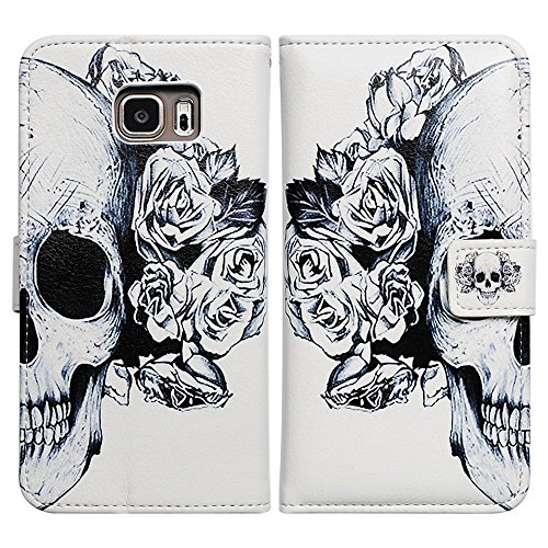Bfun Packing Bcov White Flowers Floral Skull Style Magnetic Leather Wallet Cover Case For Samsung Galaxy Note 5