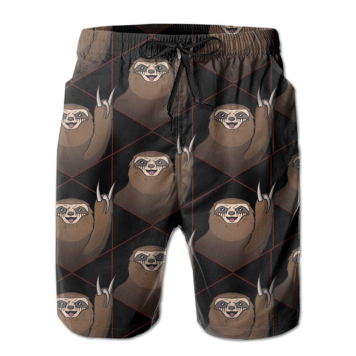 HHHDAM Metal Sloth Mens Swim Trunks Board Beachwear Casual Beach Shorts for Men with Mesh Lining