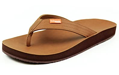 10c593514 Feelgoodz Men s Kinderz - Fair Trade Vegan Leather Flip Flop Sandal That  Molds to Your Feet