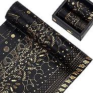 Juego de 10 rollos de cinta washi, diseño floral de papel de aluminio dorado para decorar álbumes de recortes,