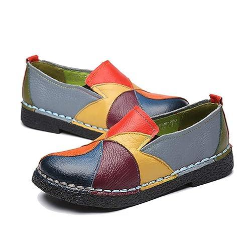 Las Mujeres Mocasines Mezclado Colores Cuero Zapatos ...