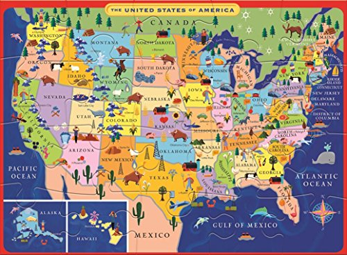eeBoo United States USA Map Puzzle for Kids, 20 pieces 689196504471 ...