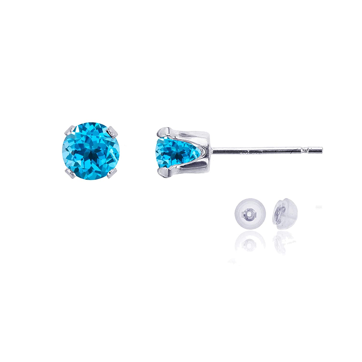 Solid 10K Gold Yellow White or Rose Gold 5mm Round Genuine Gemstone Birthstone Stud Earrings