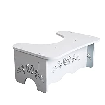 YOIFO White Wood Riser Toilet Stool,Comfortable Squat Aid Bathroom Step,Foot  Resting Base
