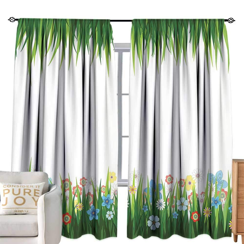 color04 W84 xL84  cobeDecor Room Darkened Heat Insulation Curtain Green Leaf Abstract Bamboo Trees in Japanese Forest Botanical Oriental Outdoors Lime Green Pale Green Simple Style W84 xL84