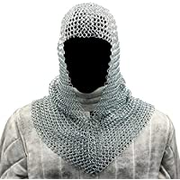 NAUTICALMART Battle Chainmail Coif V Faced Silver One Size