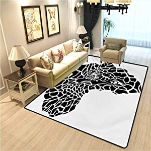 Safari Floor mat for Office Chair Carpet Illustration of Africa Continent Map as Animal Skin Wilderness Species Print Interior Bedroom Decorative Rug Black and White W3xL5 Ft
