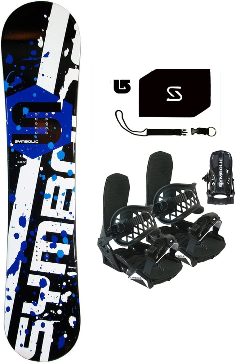 Symbolic 90cm Chopper Kids Snowboard & BLK Bindings & Leash & Stomp & Burton Decal Package