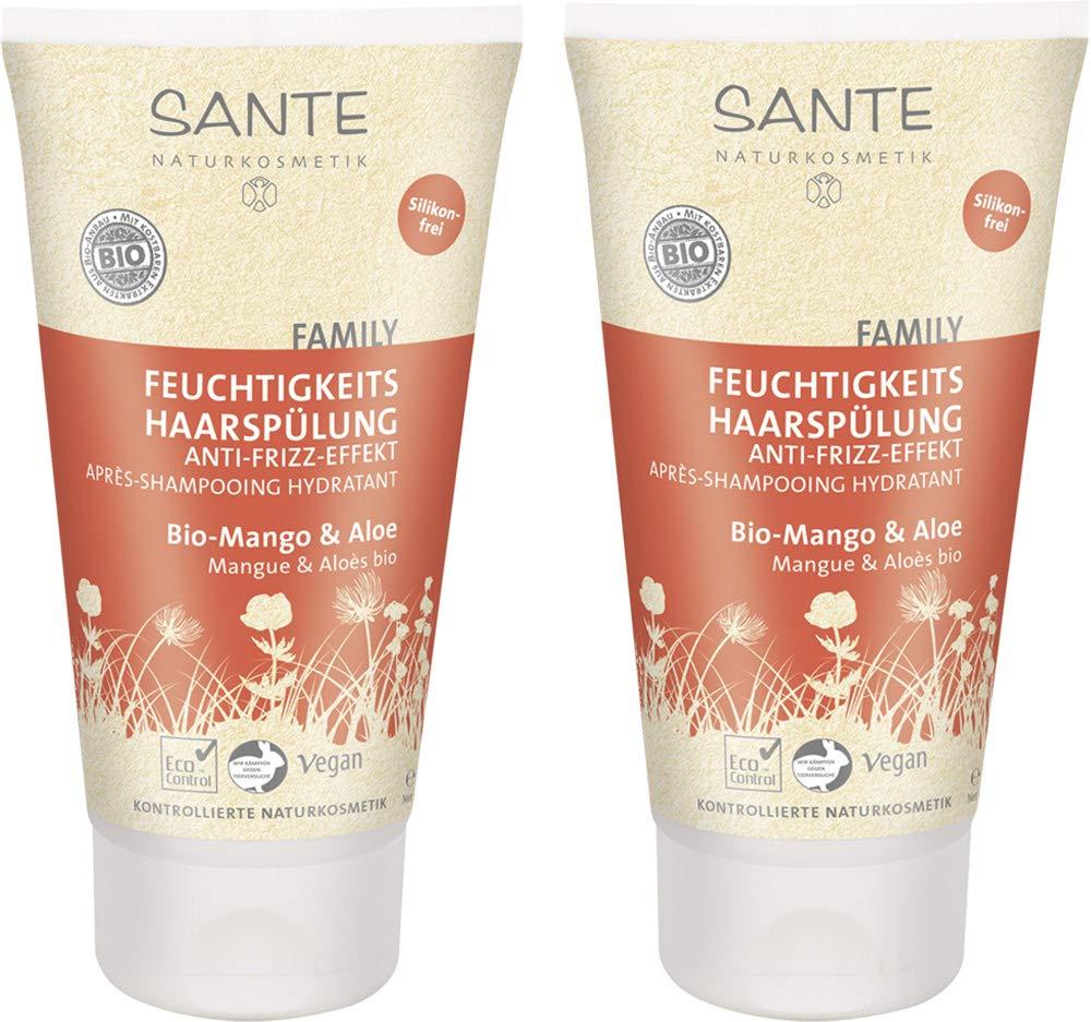 SANTE Naturkosmetik Feuchtigkeits Haarspülung Bio-Mango and Aloe, Fruchtiger Duft, Gesundes Haar, Vegan, 2x150g Doppelpack 519287