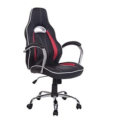 homcom quot black computer office red seat leather swivel executive high desk and chair back chairs racing amazon dp pu