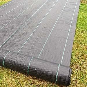 Yuzet Malla textil para control de malas hierbas, 4 m, 100 g/m², lineada