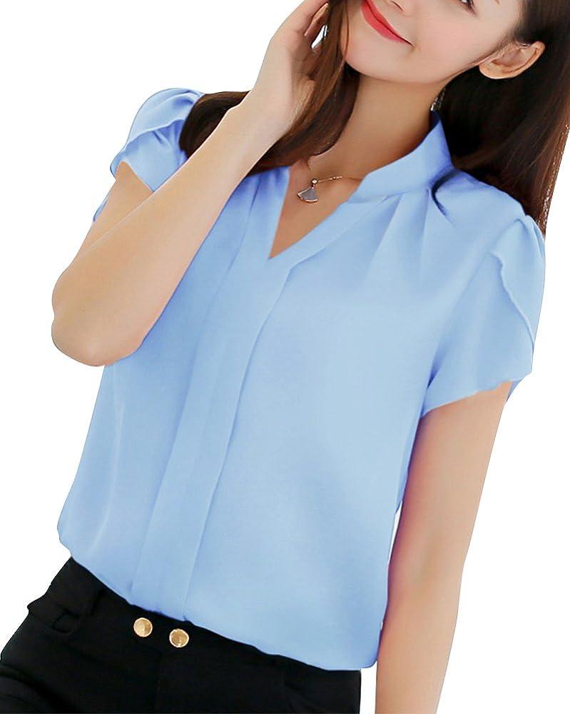 Mujeres Camisa Manga Corta Color Sólido Blusa Ocasional Oficina Camiseta Celeste XXL: Amazon.es: Ropa y accesorios