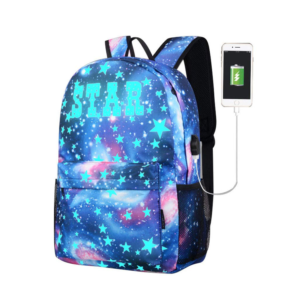 JESPER Galaxy School Bag Backpack Collection Canvas USB Charger for Teen Girls Kids Blue