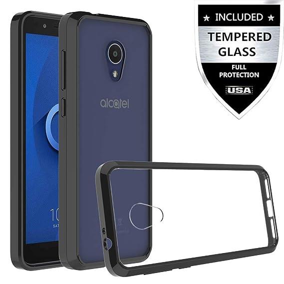 Alcatel IdealXtra Case, Alcatel 1X Evolve Case, Alcatel TCL LX (A502DL)  Case with Tempered Glass Screen Protector,IDEA LINE Premium Ultra Edge  Sturdy