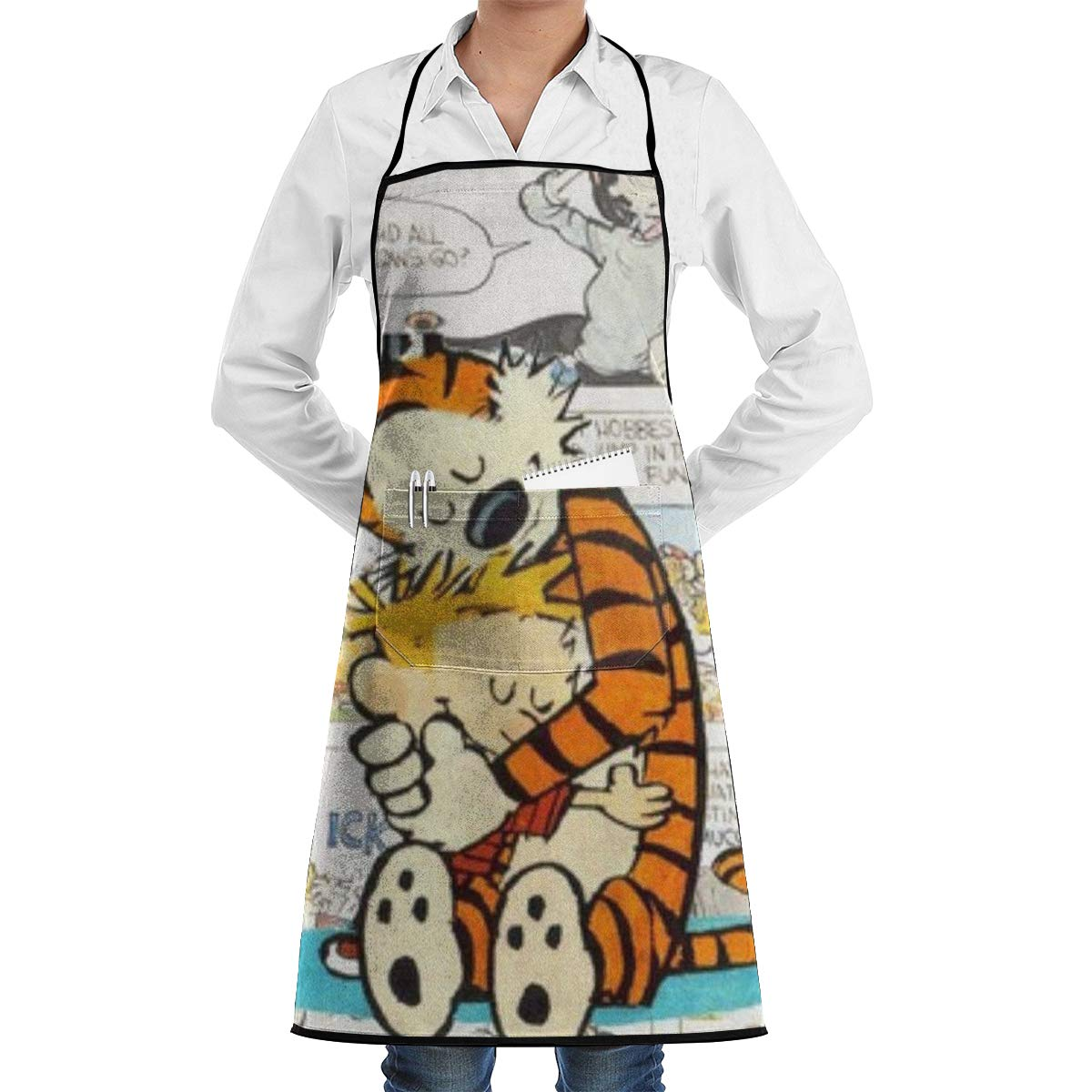 BHNMEHKM Hope Tree Fashion Custom Calvin and Hobbes Apron with Roomy Pocket Machine Washable Comfortable Adjustable Long Ties Chef Aprons for Kitchen Crafting BBQ Grilling Drawing