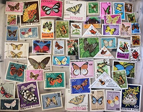 50 Butterflies and Insects stamps collection, topical stamps