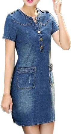 Kerlana Femme Ete Casual Denim Robe Slim Fit Manches Courtes Minirobe Mode Jeans Robe Avec Poches Dress Amazon Fr Vetements Et Accessoires