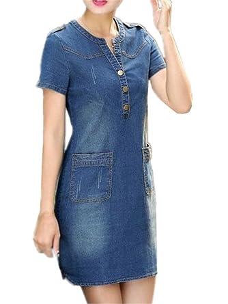 Kerlana Femme ÉTÉ Casual Denim Robe Slim Fit Manches Courtes Minirobe Mode Jeans  Robe Avec Poches
