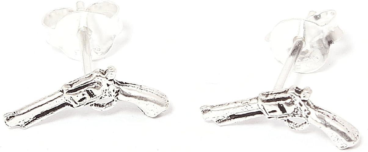 Pistole Revolver Ohrstecker 1 Paar Ohrringe Silber 925 Sterlingsilber 2 Stück