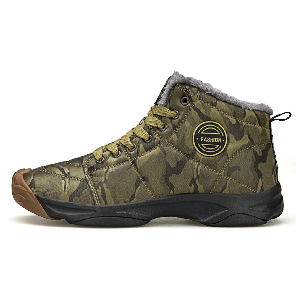 Moodeng Mens Winter Snow Boots Waterproof Warm Slip On Trekking Shoes High Top Ankle Causal Outdoor Sneaker