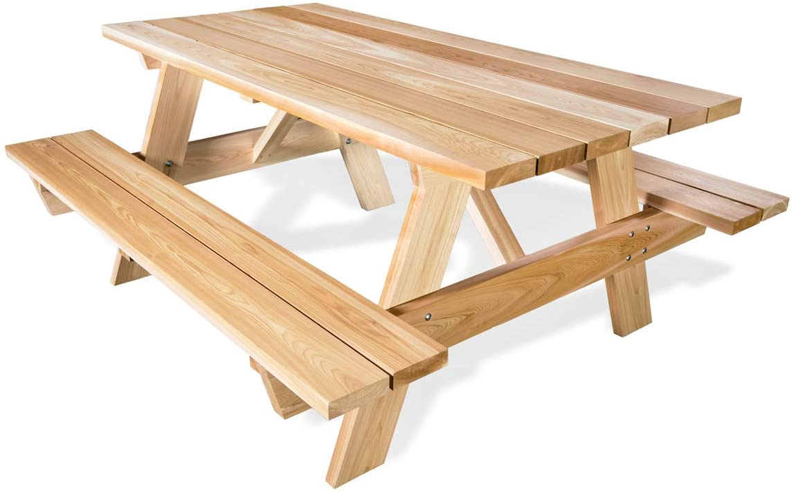 All Things Cedar PT70 6-ft Cedar Picnic Table with Attached Benches