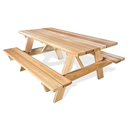 Fantastic Amazon Com 6 Ft Picnic Table Attached Benches Clear Beatyapartments Chair Design Images Beatyapartmentscom