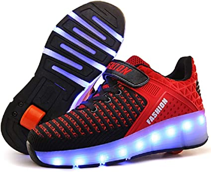 SDSPEED 7 Colors LED Rechargeable Kids Roller Skate Shoes with Single Wheel Shoes Sport Sneaker