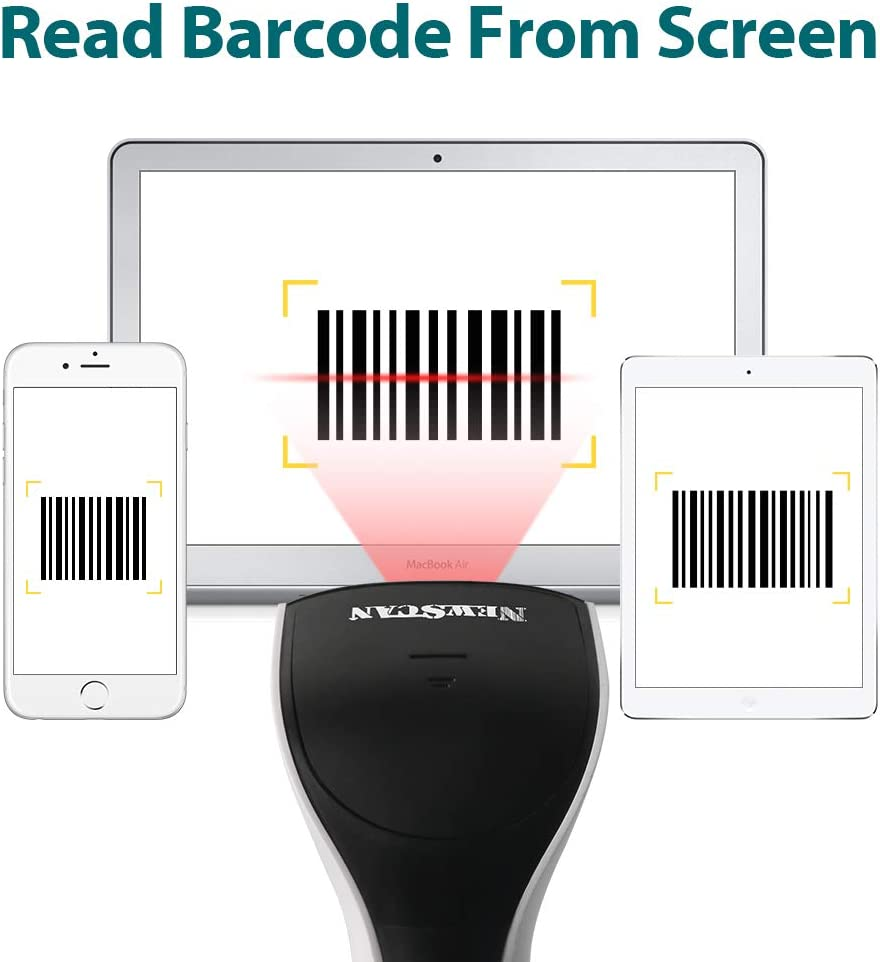 Supermarket Newscan Barcode Scanner Wireless 2-in-1 Handfree Scanners Rechargeable 1D Bar Code Reader with USB Receiver for Store Warehouse