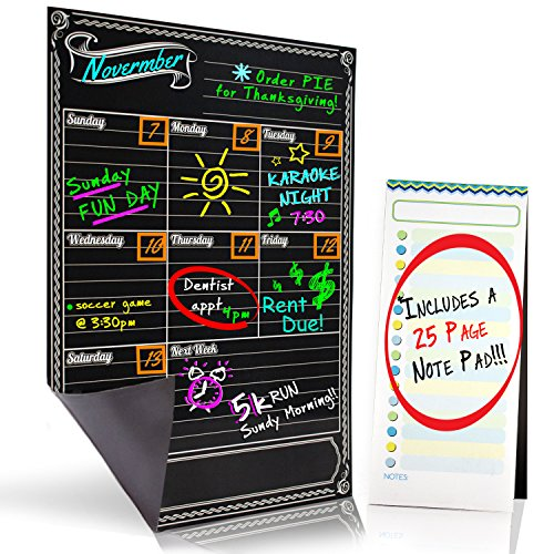 Bigtime Weekly Family Calendar Planner / Day Organizer. Magnetic Dry Erase Chalkboard Style Background for Mom - 16x11.75