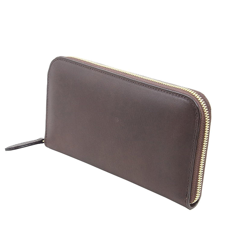 イタリアンレザー 革の色の深みと艶 の ラウンドファスナー 長財布 (焼き栗) B01MZ9GRQT