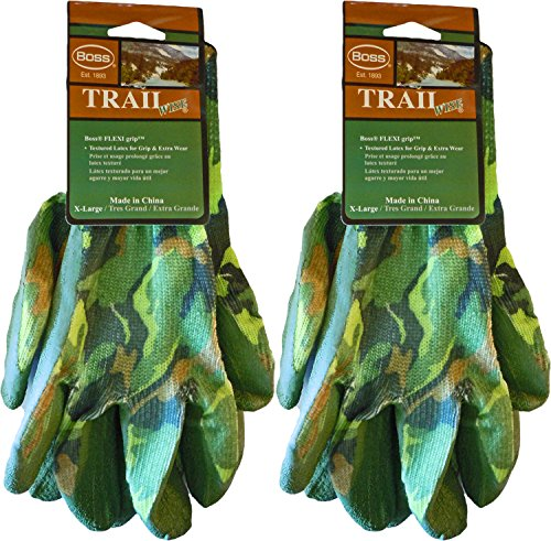 Boss Camouflage Gloves - Boss Flexi Grip Textured Latex Camouflage Work Gloves - X-Large (2 Pair)