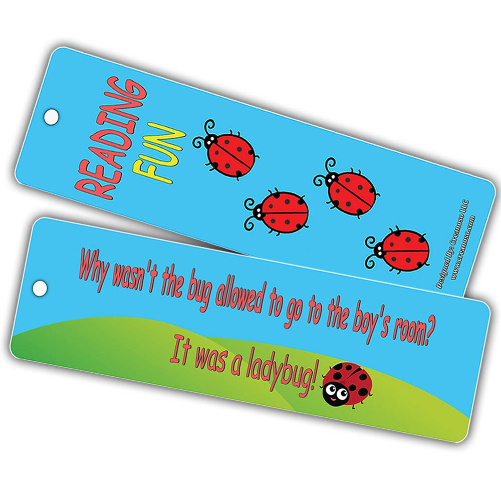 Girls Funny Jokes About Bugs and Inspiring Words for Book Reading Sessions 60-Pack Premium Gift Stocking Stuffers for Boys Creanoso Book Reading Bug Bookmarks for Kids Young Readers