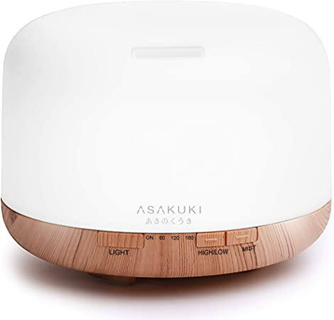 ASAKUKI 500ml Essential Oil Diffuser, Premium 5 In 1 Ultrasonic Aromatherapy Scented Oil Diffuser Vaporizer Humidifier, Timer and Waterless Auto Off,