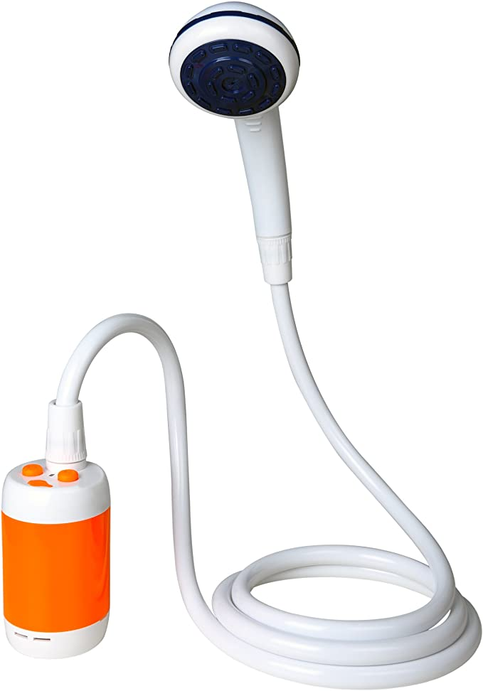 Mobile camping shower with pump