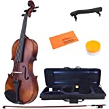 ADM 4/4 Full Size Intermediate Solid Wood Acoustic Violin Outfit, Beginner Kit with Violin Hard Case, violin for beginner, Advanced Student, Brown