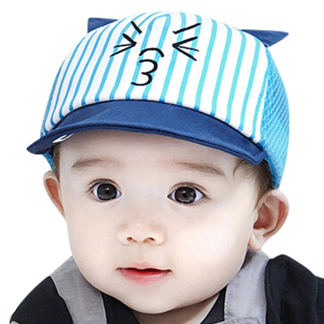 Baby Toddler Boys Girls Cat Cartoon Hat Infant Beret Cap Baseball Hat  Summer Sun Hat Hip Hop Hat (Blue)  Clothing 48658332c37