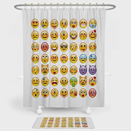 Emoji Shower Curtain And Floor Mat Combination Set Of Emoticons With Various Expressions Alien Vomiting