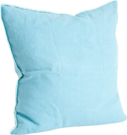 SARO LIFESTYLE Graciella Collection 100 Linen Down-Filled Throw Pillow with Fringed Edges, 20 , Turquoise