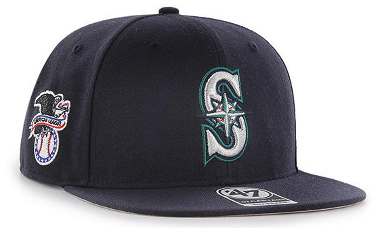 Amazon.com   47 Authentic Seattle Mariners Navy Sure Shot Captain Snapback  Hat  Sports   Outdoors 70559b2b6df