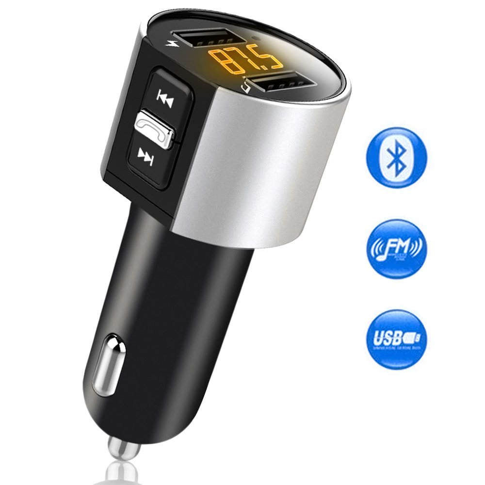 Comsoon Bluetooth FM Transmitter, Bluetooth Receiver MP3 Player Wireless In-Car Stereo Radio Adapter Car Kit Hands Free Calling, Dual USB Ports Charge 5V/2.4A & 1A