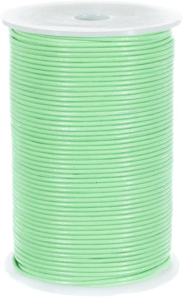 1.5mm Round Leather Cord Mint Green 15 Feet Genuine Leather Cord