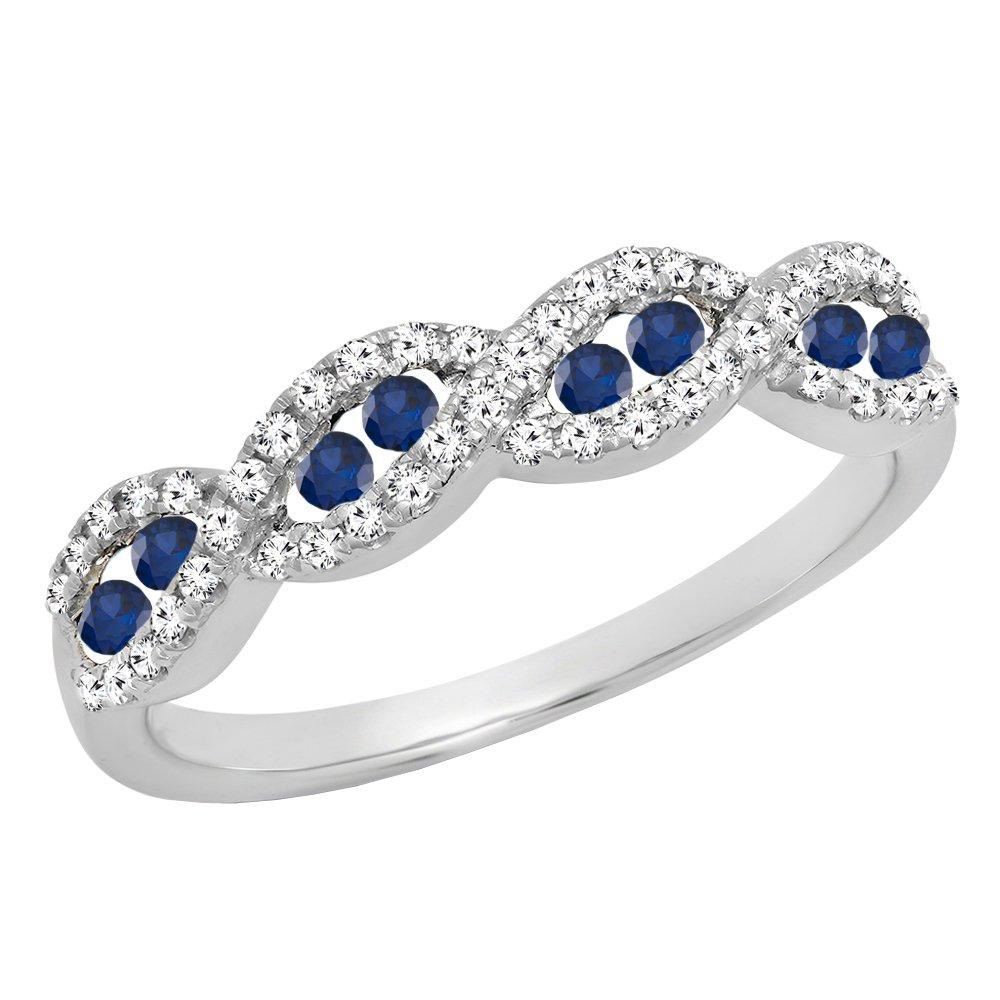 10K White Gold Round Blue Sapphire & White Diamond Ladies Anniversary Wedding Band (Size 10)