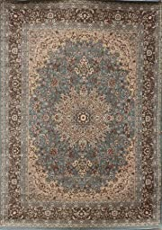 New City Light Blue Silver Traditional Isfahan Wool Persian Area Rugs 5\'2 x 7\'3