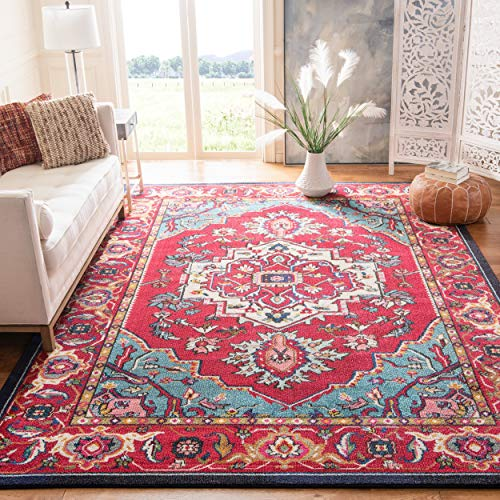 "Safavieh Monaco Collection MNC207C Modern Oriental Medallion Red and Turquoise Distressed Area Rug (6'7"" x 9'2"")"
