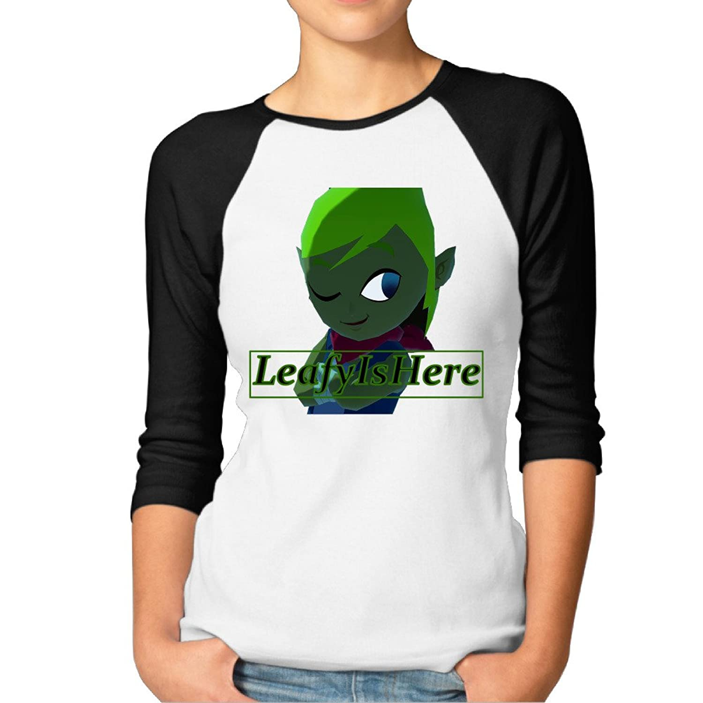 GOOOET Women's LeafyIsHere Logo 3/4 Sleeve Cotton T-shirts