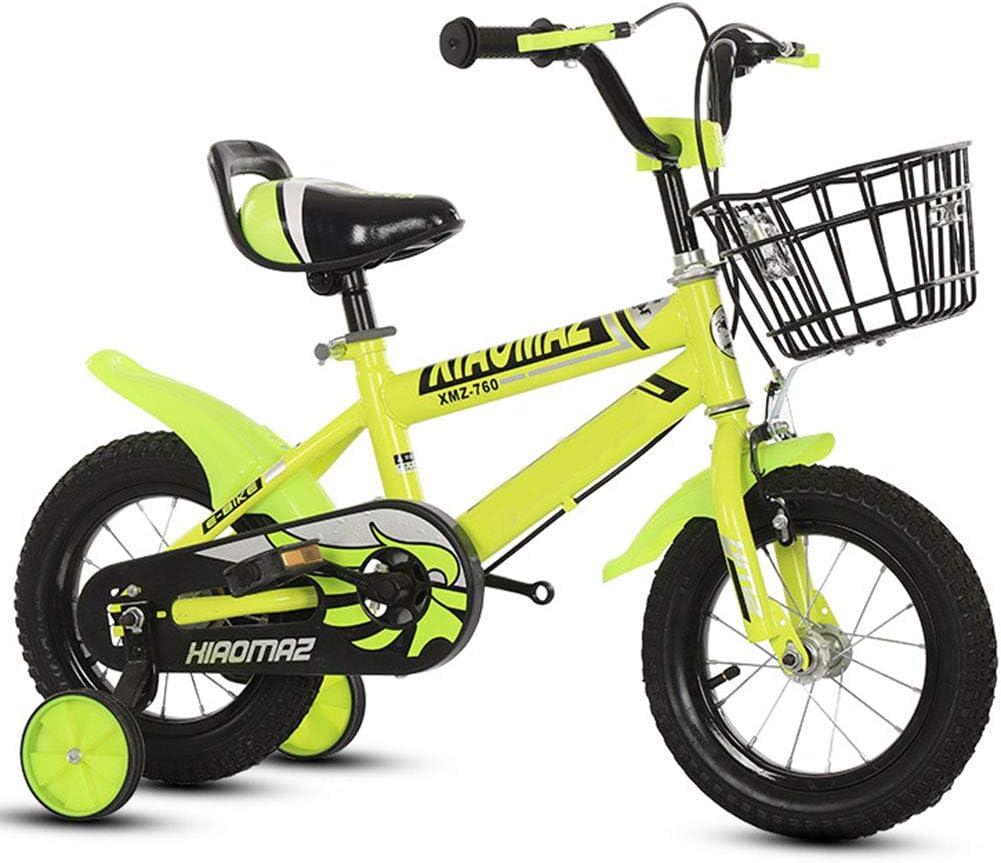 MQYZS Bicicleta Infantil para niños y niñas a Partir de 2-8| Bici 12-14-16 Pulgadas con Frenos,Ruedines de Entrenamiento Desmontables,Amarillo,14 Inches