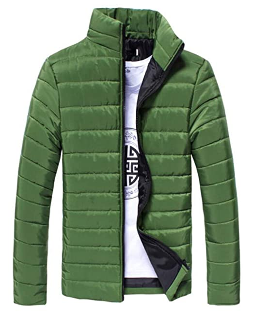 BYWX Men Zipper Lightweight Stand Collar Solid Color Down Jacket Army Green US XL
