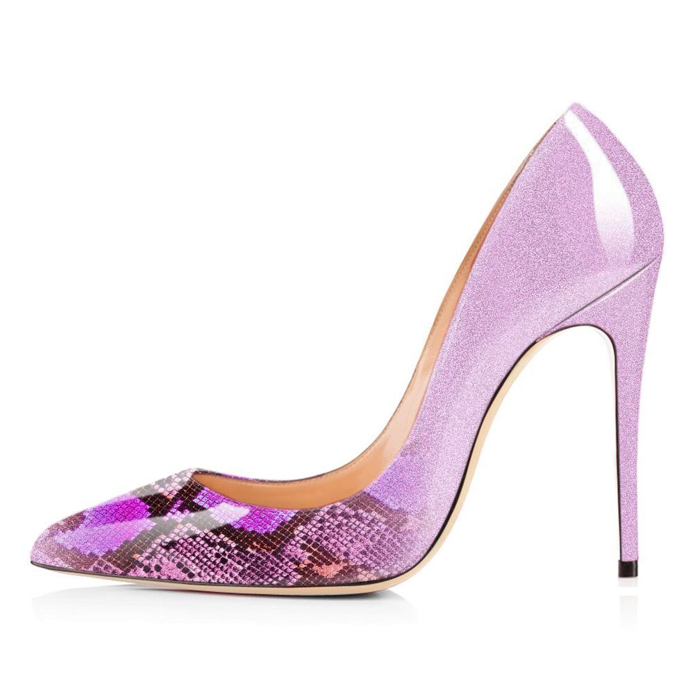 VOCOSI Pointy Toe Pumps for Women,Patent Gradient Animal Print High Heels Usual Dress Shoes B077P3STTP 10 B(M) US Gradient Rose Red to Snake Print With 10cm Heel Height